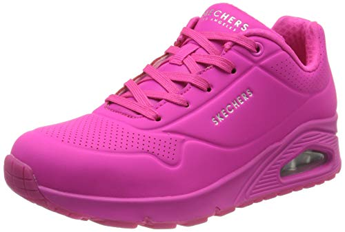 Skechers womens Skecher Street Women's Uno - Night Shades Sneaker, Pink Hot Pink Durabuck Htpk, 9 US