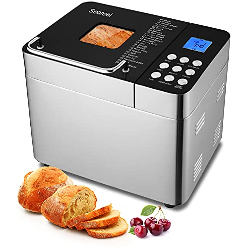 25-in-1 Bread Machine, 2LB Stainless Steel Programmable Bread Maker with Nonstick Ceramic Pan, Button Design, 15H Reserve, 1H Keep Warm, 3 Loaf Sizes/Colors