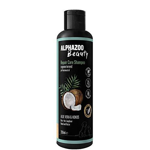 alphazoo Repair & Care Shampoo für Hunde & Katzen | Fellpflege mit Aloe Vera & Kokos | regenerierende & beruhigende Pflege für Haut & Fell | biologisch & vegan, pH-neutral, ohne Parabene & Silikone