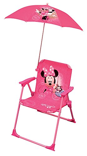 FUN HOUSE Minnie Chaise Pliant + Parasol Fille, Rose, à partir de 3 Ans