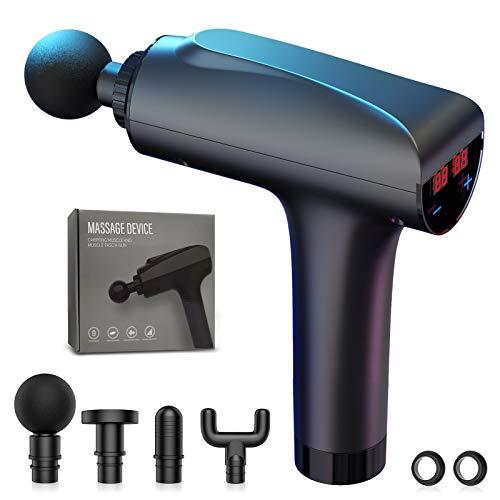 Massagepistole Racokky Handmassagegerät Elektrische Deep Tissue Massage Gun mit 20 Geschwindigkeiten 4 Verschiedene Massageköpfe Massagekörper-Entspannungswerkzeuge