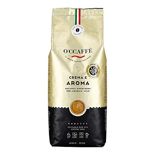 O'CCAFFÈ – Crema e Aroma 100% Arabica Kaffee | 1 kg ganze Kaffeebohnen | extra langsame Trommelröstung aus italienischem Familienbetrieb