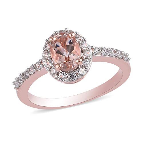 TJC Pink Morganite Halo Ring for Women in Rose Gold Plated 925 Sterling Silver Anniversary Jewellery Size K with White Zircon, TCW 1.23ct