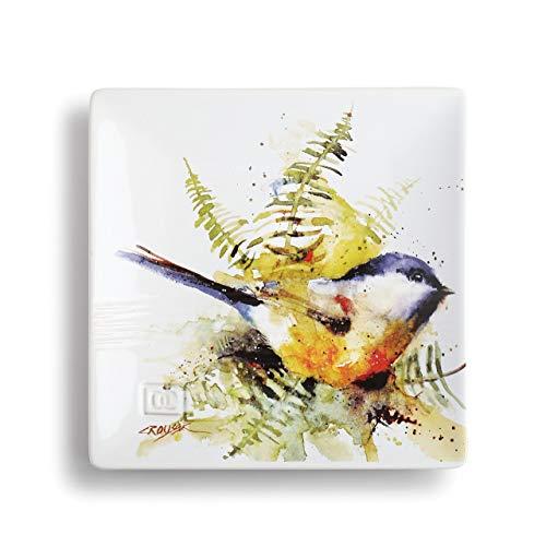 DEMDACO Dean Crouser Spring Chickadee Watercolor Yellow 7 x 7 Ceramic Stoneware Snack Plate
