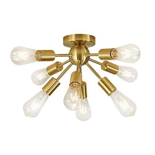 Lámpara de techo Plafón Vintage Sputnik Chandelier Moderno semi al ras de techo Lámpara de techo siglo mediocumente colgante iluminación, 8 luces (Color : Gold)