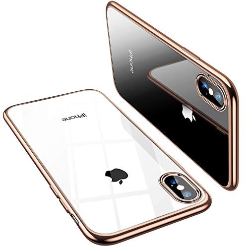 TORRAS Crystal Clear iPhone Xs Max Case, [Anti-Yellowing] Soft Silicone Shockproof TPU Slim Thin Protective Phone Cover Case for iPhone Xs Max 6.5 inch - Gold