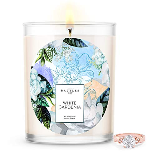 Kate Bissett Baubles White Gardenia Scented Premium Candle and Jewelry with Surprise Ring Inside | 18 oz Large Candle | Made in USA | Parrafin Free | Size 08