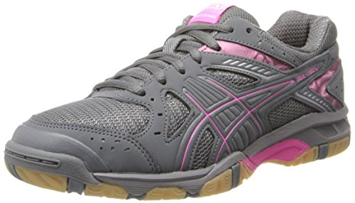 ASICS Women's Gel 1150V Volley Ball Shoe,Smoke/Knock Out Pink/Silver,9 M US