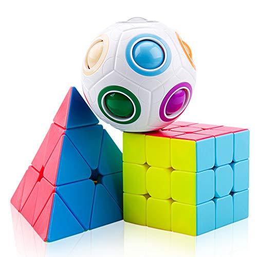 SPLAKS Zauberwürfel Set Magic Cube Geschenke mit Zauberball Pyramid Cube 3x3x3 IQ Puzzle Spielzeug für Konzentration und Gehirn Training