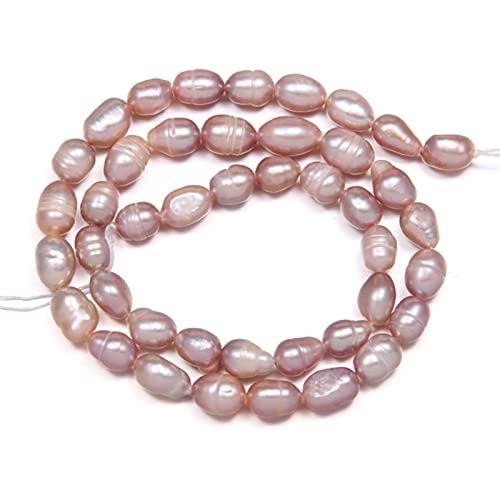 QWESD Perlas de Agua Dulce Naturales Perlas con Forma de arroz Perlas Sueltas para Bricolaje Collar Elegante Pulsera Fabricación de Joyas-Púrpura, 6-7 mm