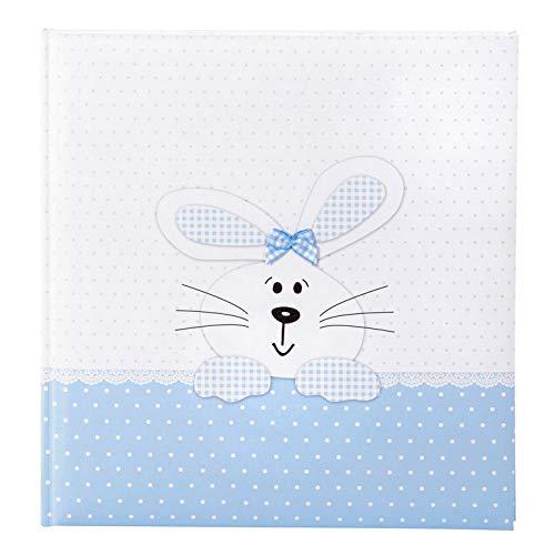 goldbuch Babyalbum, Bunny Blue, 30 x 31 cm, 60 weiße Seiten, 4 illustrierte Seiten, Pergamin-Trennblätter, Leinenstruktur, Weiß/Blau, 15127