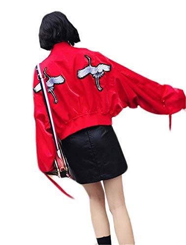 Damesjas kort modieus geborduurd lange mouwen bomberjack vrije tijd ontspannen trend meisjes jongens chic pilotenjack met rits outdoorwear