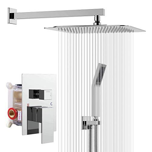 Rainsworth Sistema de Ducha – Cromo Grifos de Ducha Empotrados Set – Tecnología de inyección de Aire – Cabeza de Ducha Cuadrada de 10 Pulgadas – Fácil instalación – Acero Inoxidable y Latón