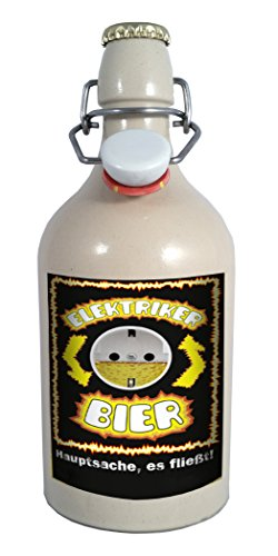 Elektriker Bier - 0,75 Liter Tonflasche mit Bügelverschluss
