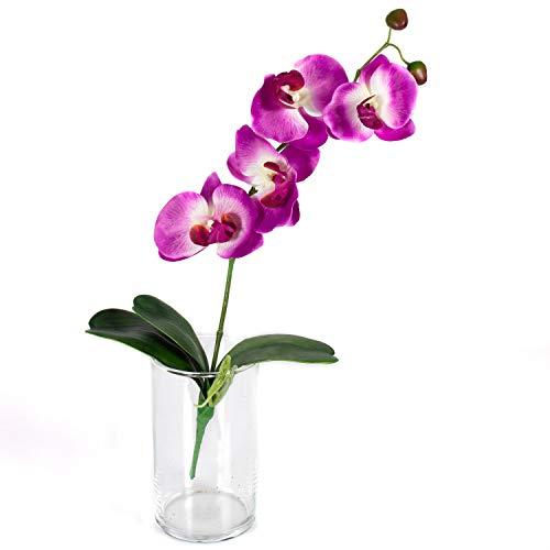 artplants.de Künstlicher Phalaenopsis Zweig MADOU, Blätter, pink, 40cm - Blumenzweig - Künstliche Orchidee