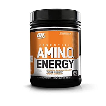 Optimum Nutrition Amino Energy - Pre Workout with Green Tea BCAA Amino Acids Keto Friendly Green Coffee Extract Energy Powder - Orange Cooler 65 Servings Packaging May Vary
