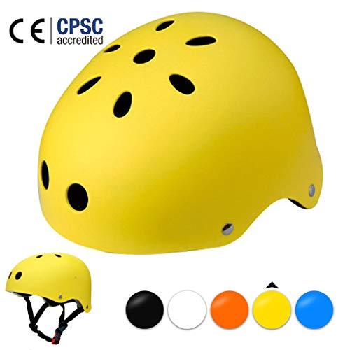LXXTI Skateboard-Helm, Fahrradhelm, Kinder-Helm zum Skifahren, Scooter-Helm,Größe 50-61cm, Skate Helm, MäDchen FahrradHelm, Mountainbike Helm Jungen,Gelb,M