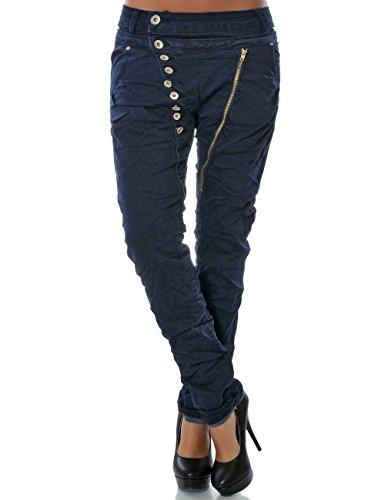 Daleus Damen Boyfriend Jeans Hose Reißverschluss Knopfleiste Stretch DA 14145 Farbe Navy Größe XS / 34