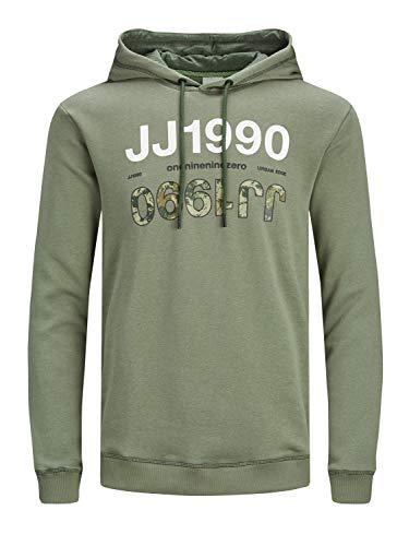 JACK & JONES JCOART Sweat Hood Felpa con Cappuccio, Verde-Deep Lichen Green, XL Uomo