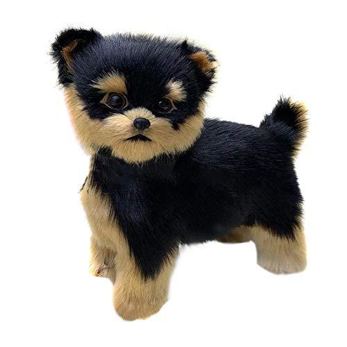 POHOVE Juguete de peluche para perro, realista Yorkie perro lindo hecho a mano, juguete de simulación para perros, cachorros, adornos para coche, color negro