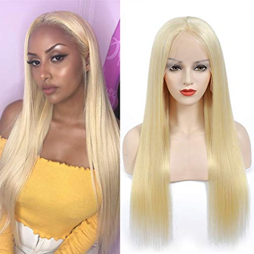 613 Lace Front Wig Human Hair 150% Density Brazilian Straight Lace Frontal Wigs for Woman(613#Blonde 13x1 T-type Lace Wig,20Inch)
