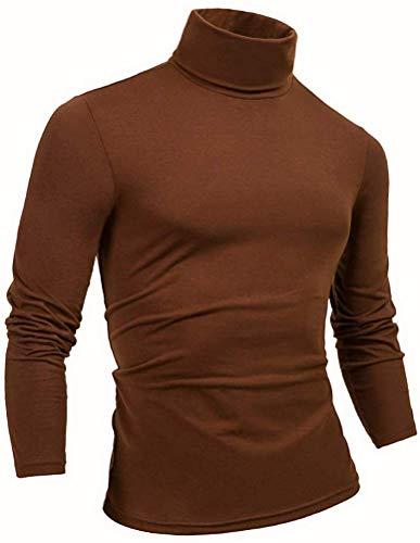 THWEI Mens Turtleneck Mock Turtleneck Slim Fit Long Sleeve Pullover Sweater(Brown, XL(US 44))