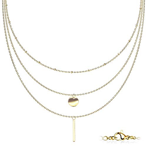 Trendy-Sandy #S9 Women's Necklace Stainless Steel Chest Chain Body Chain Multi-Row gold-coloured