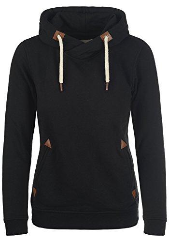 DESIRES VickyHood Damen Damen Hoodie Kapuzenpullover Pullover Mit Kapuze Cross-Over-Kragen Und Fleece-Innenseite, Größe:S, Farbe:Black (9000)
