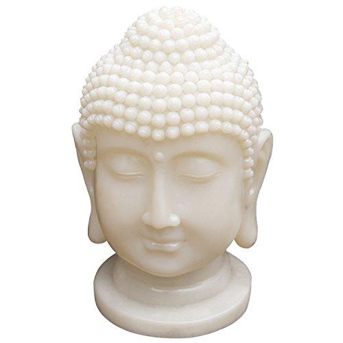 GardenKraft 16440 Gartenornament, solarbetriebener Buddha-Kopf mit LED-Licht | Kunstharz | Warmweißes Licht | Wetterfest | Automatik-Anschaltung | 41x26cm