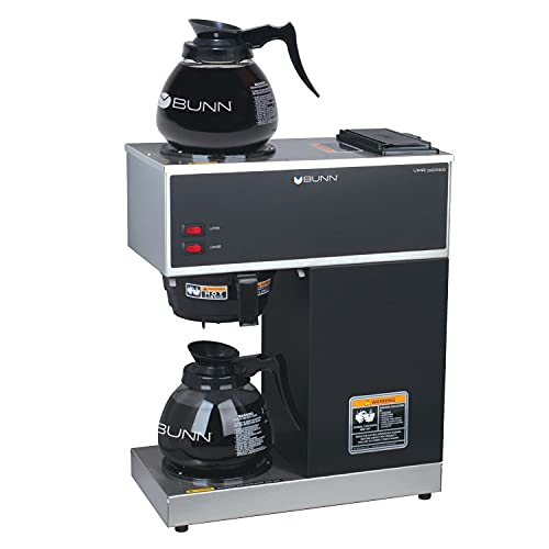 BUNN - FBA_33200.0015 Bunn 33200.0015 VPR-2GD 12-Cup Pourover Commercial Coffee Brewer with Upper and Lower Warmers and Two Glass Decanters, Black, Stainless, Standard