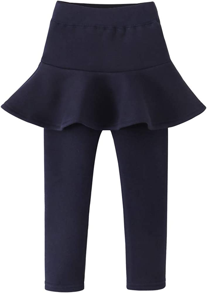 birbyrrly Girls' Winter Warm Fleece Lined Thick Flare Skirt with Leggings 2T - 10 Years