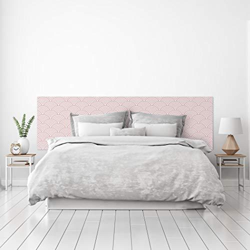 MEGADECOR Cabecero Cama PVC Decorativo Económico Diseño Abstracto Patrón Circular Estilo Japonés Rosa Varias Medidas (115 cm x 60 cm)