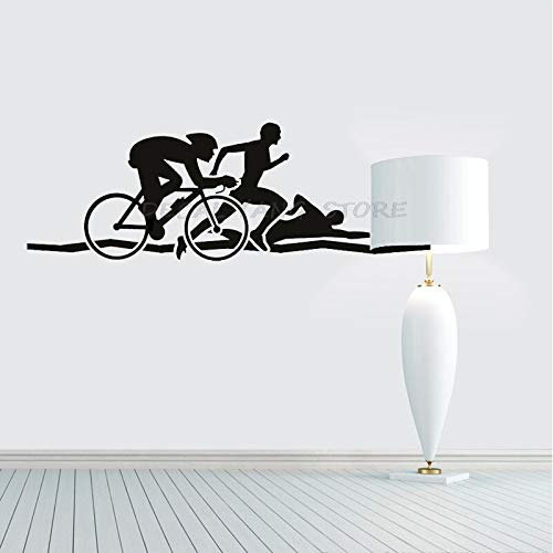JXMN Triatlón Atleta Pegatina de Pared Bicicleta natación Correr Deportes Vinilo Pared calcomanía Salud Fitness Mural Atleta decoración Interior del hogar 114x38cm