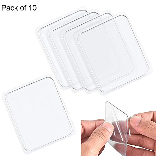 Multipurpose Super Sticky Silicone Gel Pads Anti-Slip Nano Gripping Pads Universal Sticker for Car Cell Phone,Keys,Washable Gel Pads,Stick Anything Anywhere Home 4 Pack