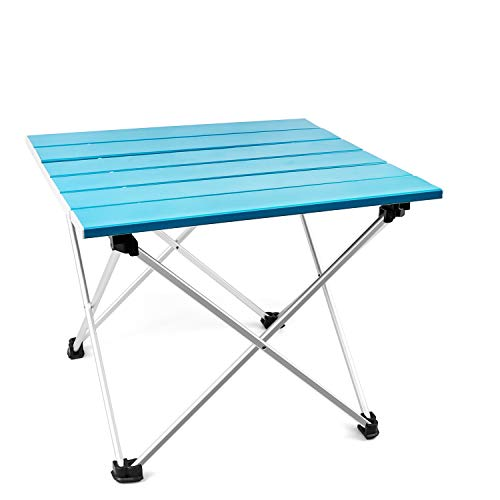 T-Buy Aluminium Picknicktisch Tragbarer Camp Tisch,Klappbarer Campingtisch,Tragbarer Kompakter Und Klappbarer Picknicktisch Für Picknick Garten Patio Strand Angeln Wandern Catering BBQ