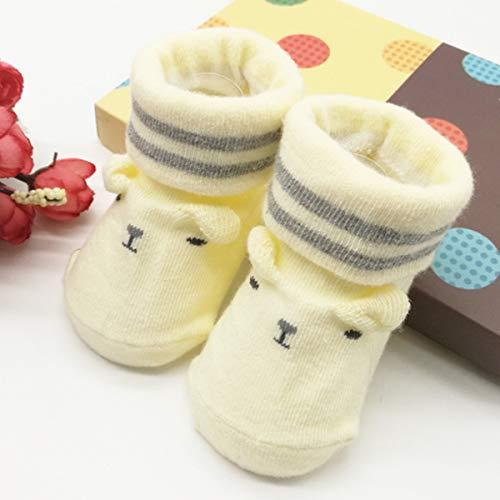 Borlai baby jongens meisjes sokken schattige katoen anti-slip sokken schoenen zuigeling cadeauset 0-6 maanden 0~6 Monate geel
