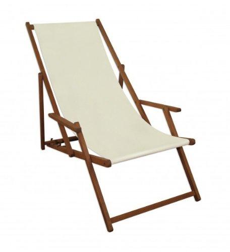 Solida Sedia a Sdraio Bianca Ecru da Spiaggia in Legno di Faggio massello con braccioli 10-303