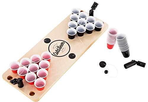 BeerCup-Classics Shot Pong Set: Mini Beer Pong Tisch als Trinkspiel für Party, Festivals und Geschenk