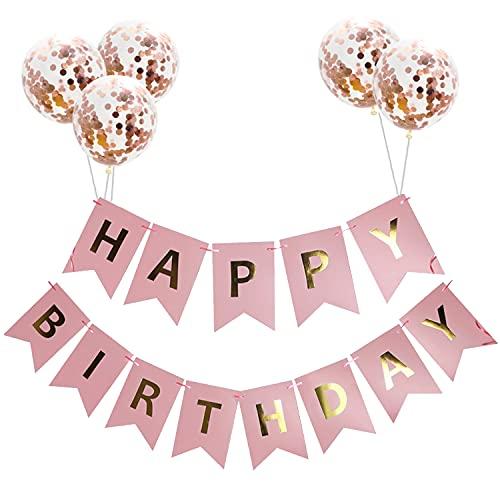 Sakruda Globos de látex con texto 'Happy Birthday', color negro, con 5 globos de color oro rosa de 30,5 cm, perfectos para decoración de fiesta de cumpleaños, para niños, niñas, hombres, mujeres