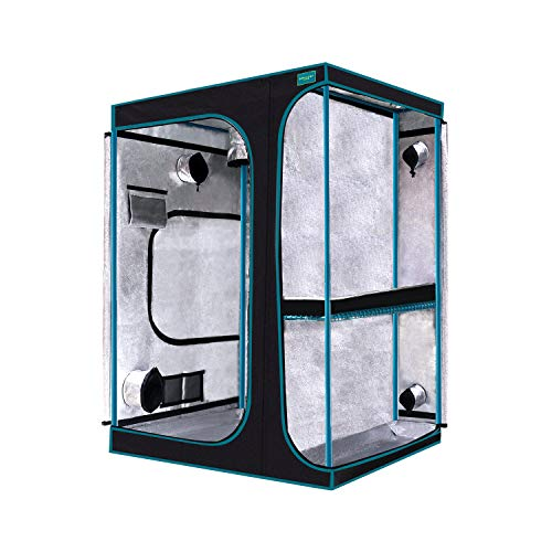 """OPULENT SYSTEMS 24""""x24""""x48"""" Hydroponic Mylar Water-Resister Grow Tent Reflective Garden Growing Dark Room with Observation Window, Removable Floor Tray and Tool Bag for Indoor Plant Growing 2'X2'"""