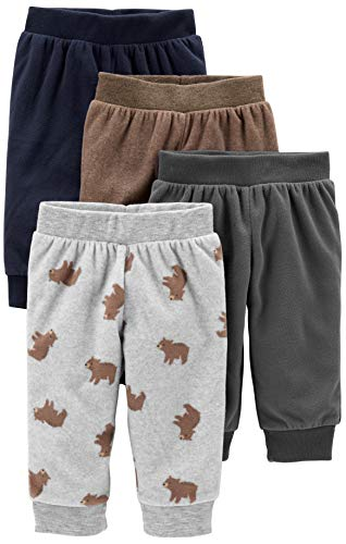 Simple Joys by Carter's Boys' 4-Pack Fleece Pants, Gray/Navy/Brown/Bear Print, 6-9 Months