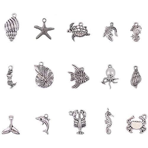PandaHall - Ciondoli in Lega in Stile Tibetano, per la creazione di Gioielli o collane, Antique Silver, Ocean Series