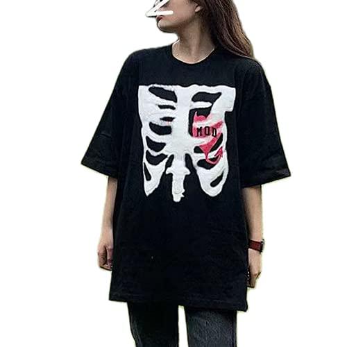 Camiseta de manga corta gótica punk para mujer Y2K E-Girls 90s Goth Vintage manga corta oversize con estampado gráfico Streetwear, D#black Skull Oversized, M