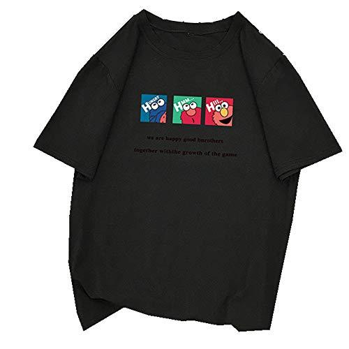 Camiseta de manga corta para mujer, estilo extranjero y dibujos animados Negro Negro ( S