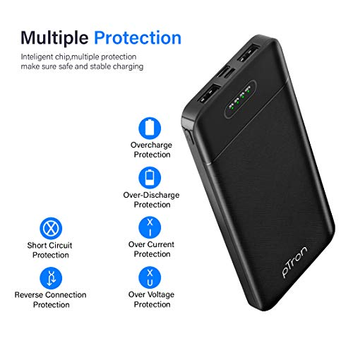 pTron Dynamo Lite 10000mAh Li-Polymer Power Bank, Made in India, 10W 2.1A Fast Charging Power Bank for Smartphones & Dual USB Ports, Type C & Micro USB Input, Safe & Reliable - (Black)