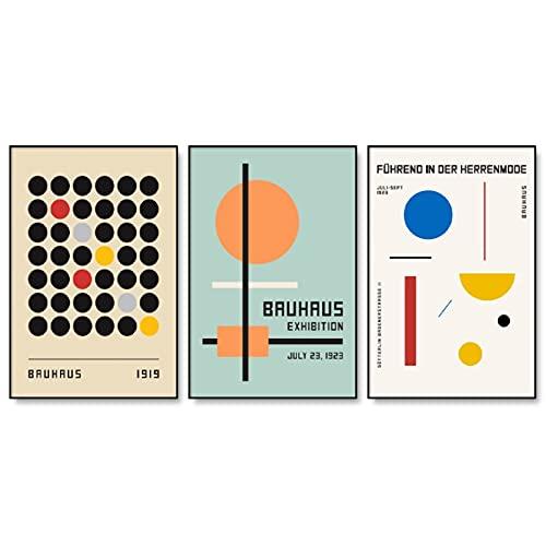 Exposición de la Bauhaus cuadros de arte de pared geométricos abstractos, carteles e impresiones minimalistas, pinturas de lienzo sin marco A2 30x40cm