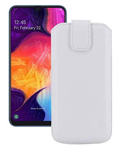 Suncase Etui Tasche kompatibel mit Samsung Galaxy A50 mit ZUSÄTZLICHER Hülle/Schale/Bumper/Silikon *Lasche mit Rückzugfunktion* Handytasche Ledertasche Schutzhülle Case in vollnarbig-Weiss