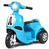 Costzon 3 Wheels Electric Motorcycle for Kids, 6V Battery Powered Motorbike Scooter with Flexible Handle & Horn Sound, Forward or Backward, LED Headlight, Ergonomic Seat, for Girls & Boys (Blue)