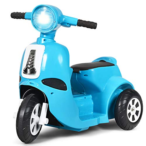 Costzon 3 Wheels Electric Motorcycle for Kids, 6V Battery Powered Motorbike Scooter with Flexible Handle \& Horn Sound, Forward or Backward, LED Headlight, Ergonomic Seat, for Girls \& Boys (Blue)