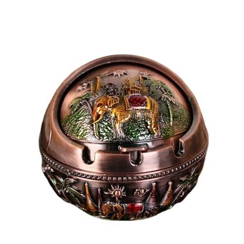 Cenicero estilo retro diámetro 10 cm personalidad cenicero esférico con tapa metal decoración animal decoración del hogar